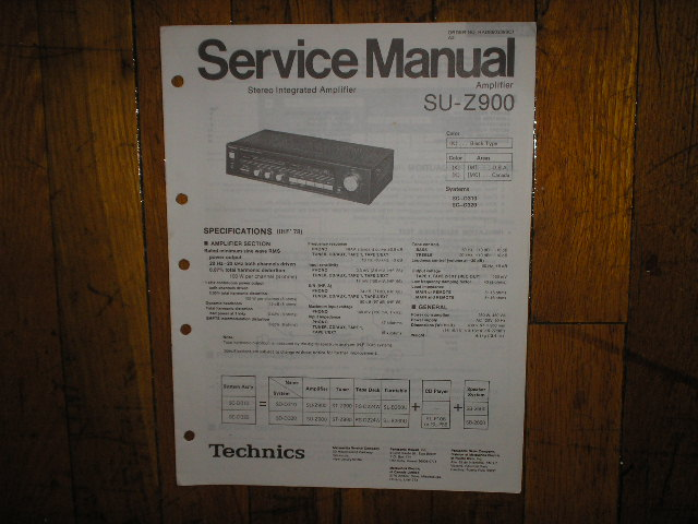 SU-Z900 Amplifier Service Manual