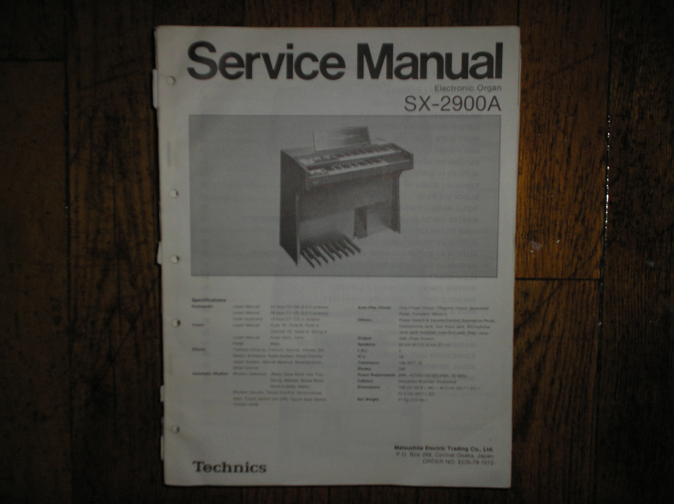 SX-2900A Electronic Organ Service Manual