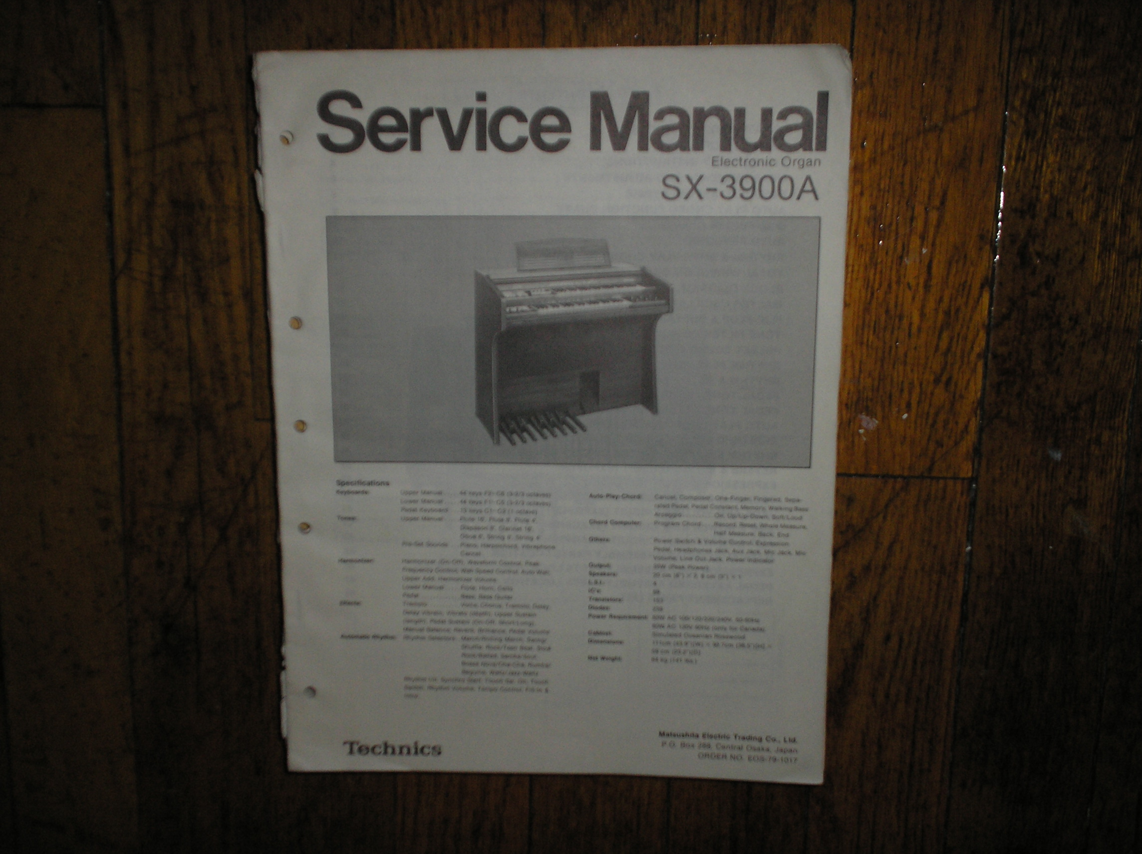SX-3900A Electronic Organ Service Manual