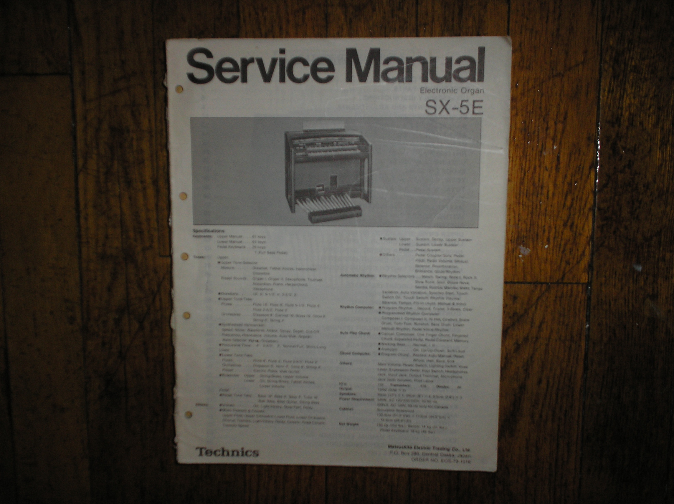 SX-5E Electronic Organ Service Manual