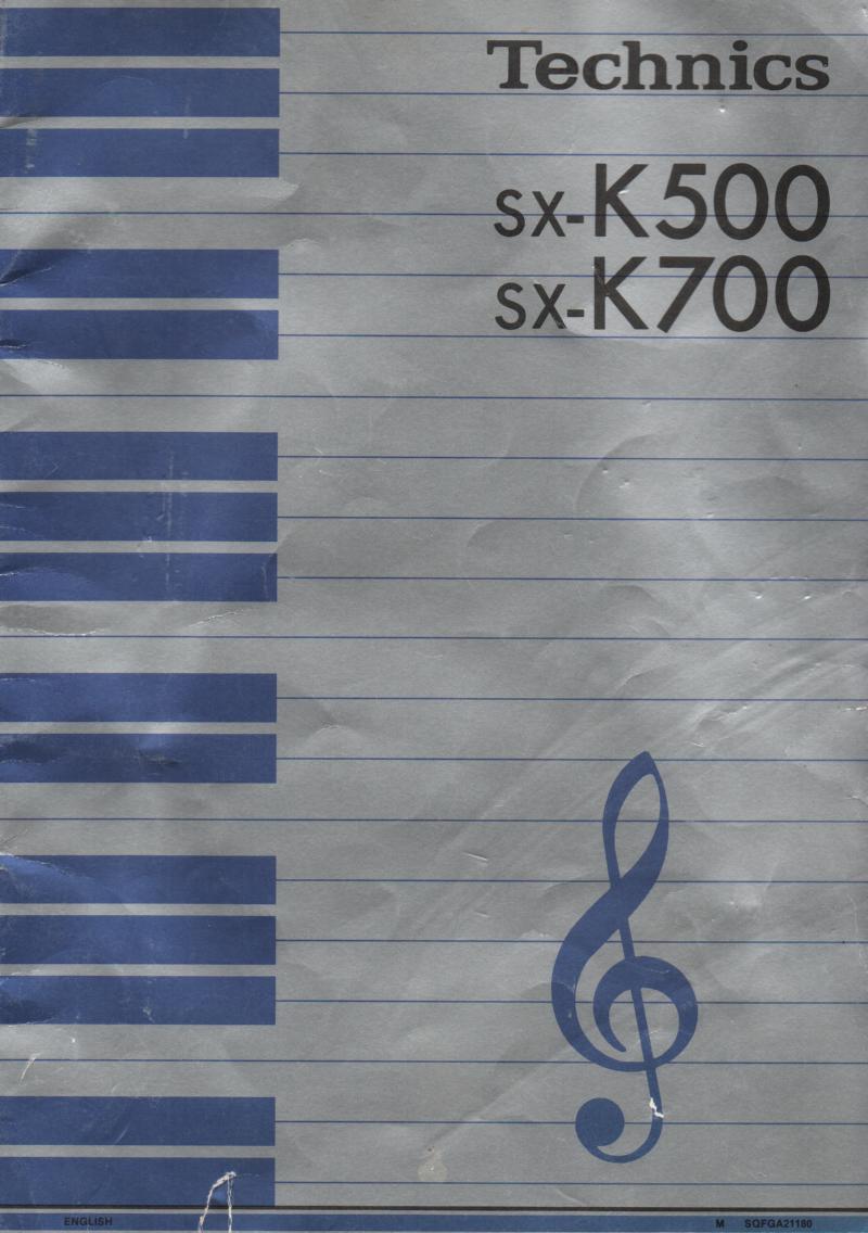 SX-K500 SX-K700 PCM Keyboard Operating Instruction Manual.