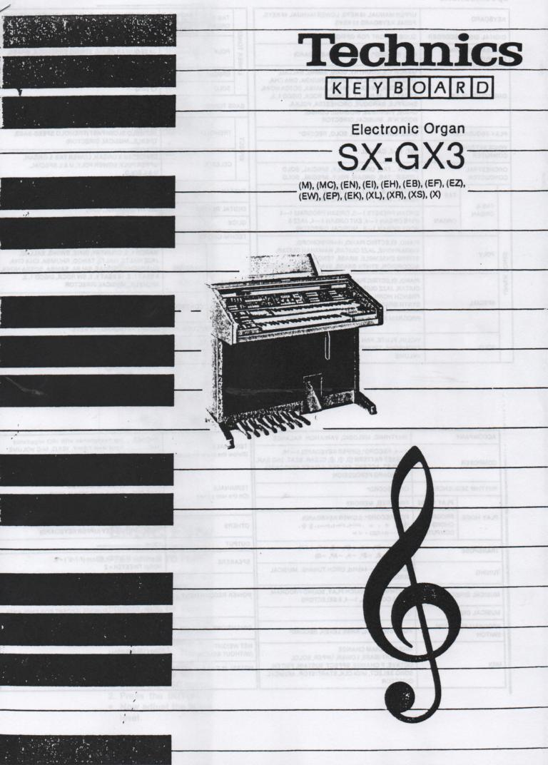 SX-GX3 Electric Organ Basic Operating Instruction Manual.
