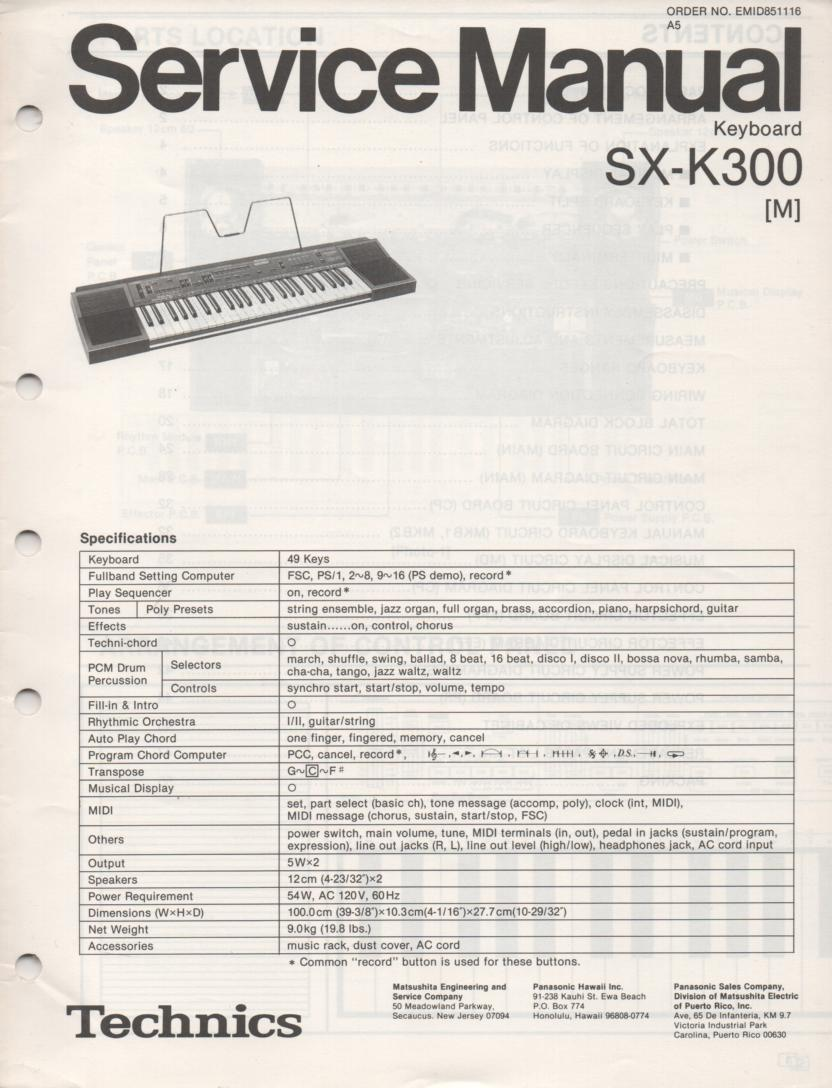 SX-K300 Electric Organ Service Manual