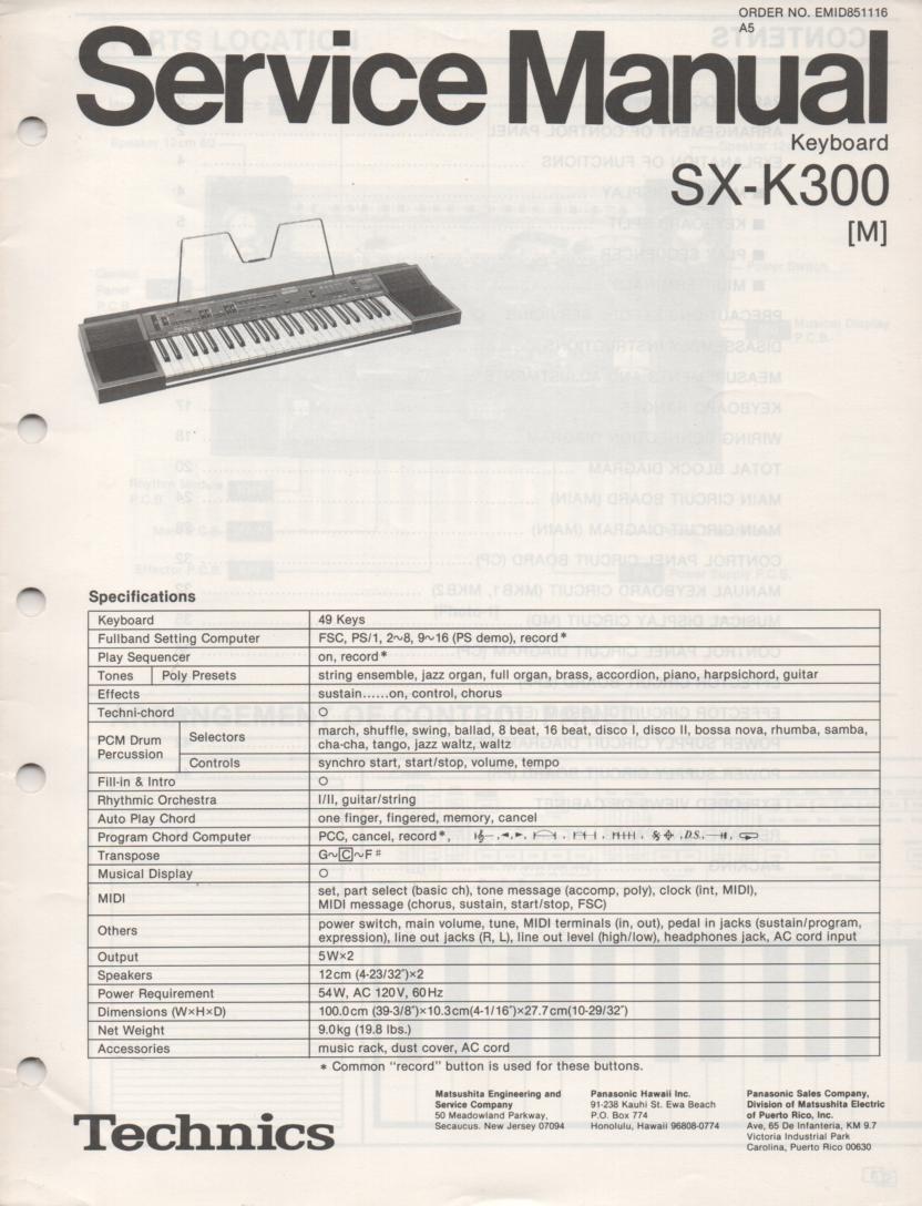 SX-K300 Electric Organ Service Manual