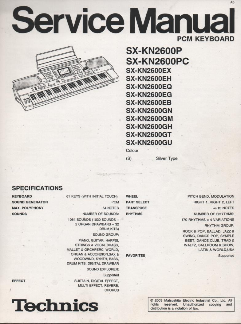 SX-KN2600 PCM Keyboard Service Manual. For KN2000P PC EX EH EQ EG EB GN GM GH GT GU Types