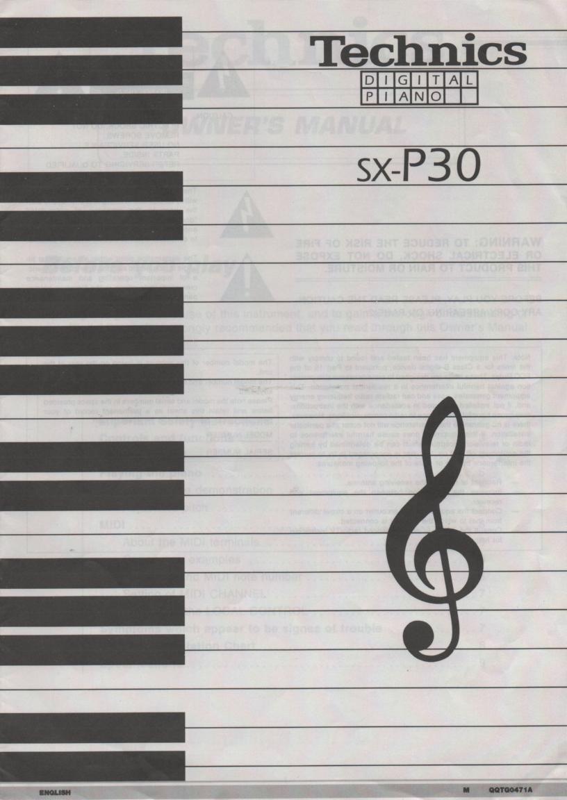 SX-P30 Digital Piano Owners Manual