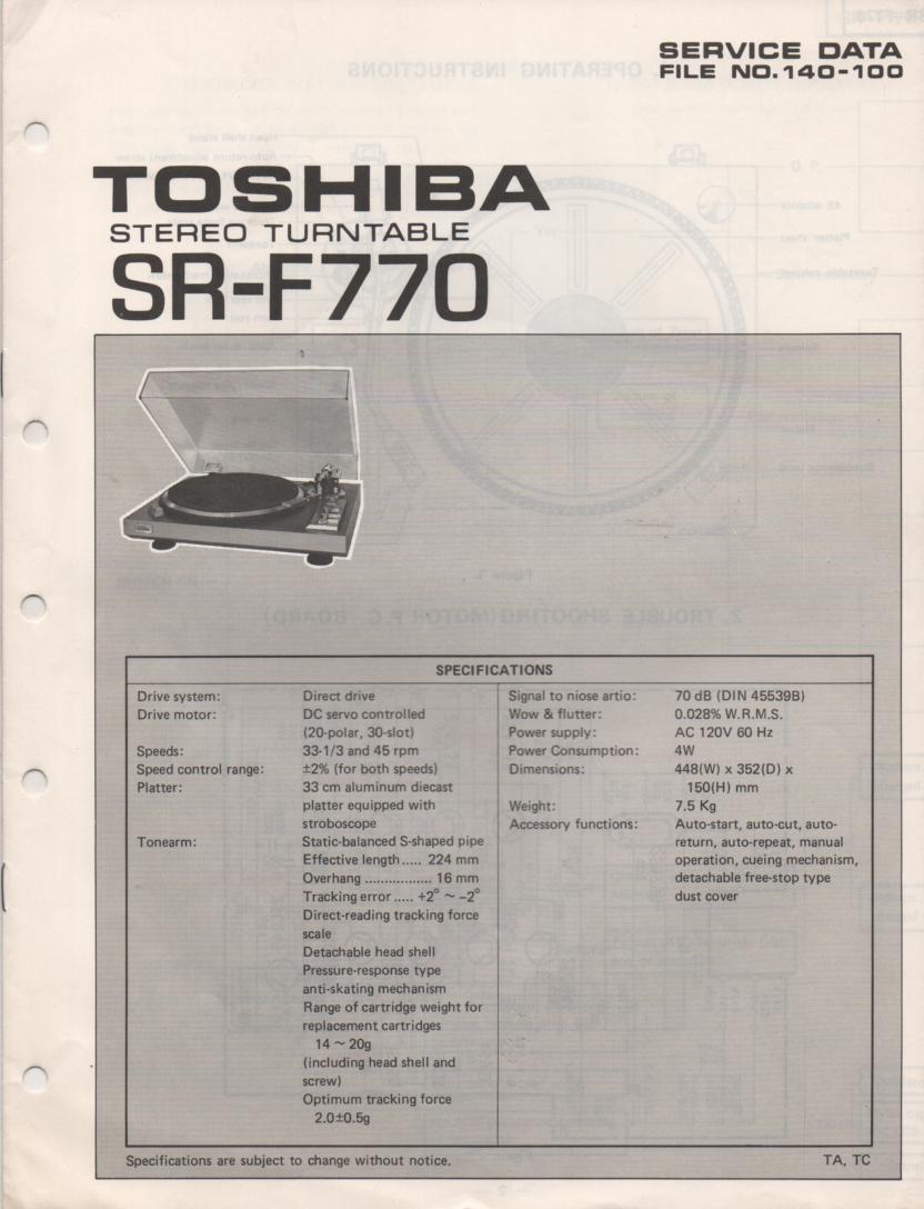 SR-F770 Turntable Service Manual