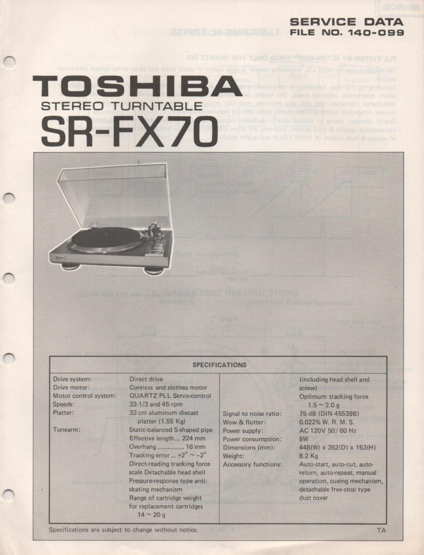 SR-FX70 Turntable Service Manual