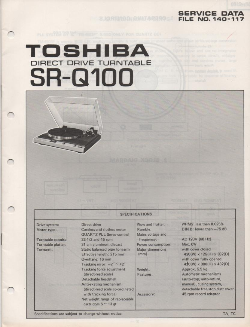SR-Q100 Turntable Service Manual
