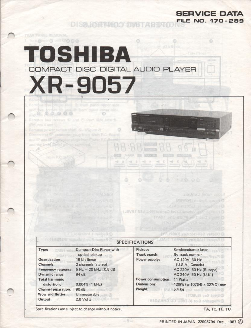 XR-9057 CD Player Service Manual
