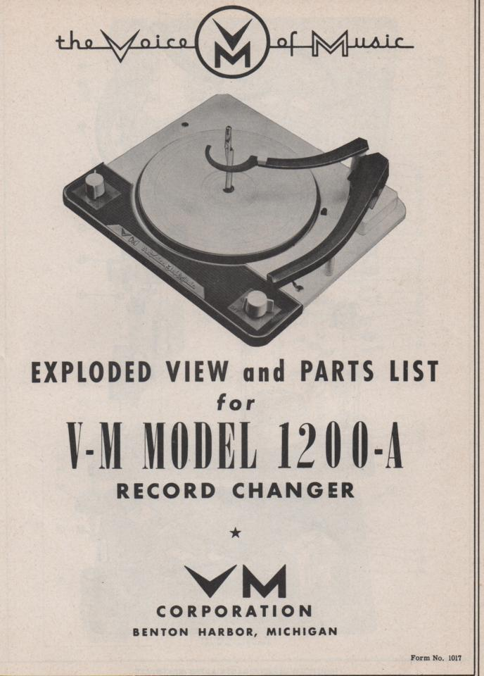 1200-A Record Changer Parts Service Manual