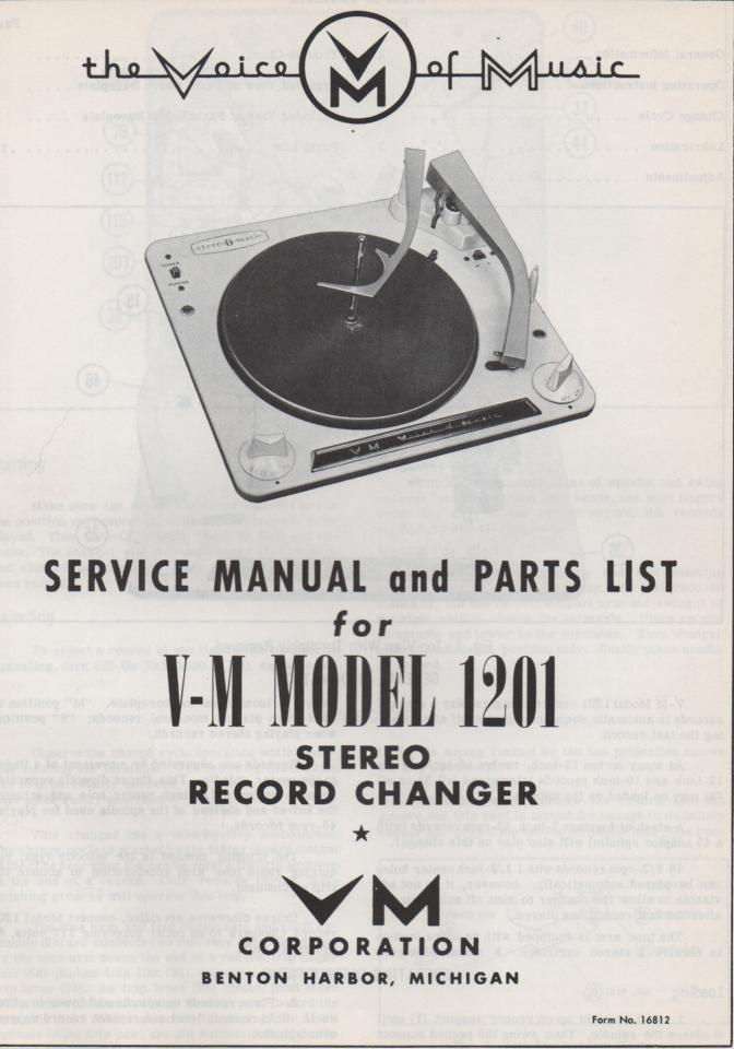 1201 Record Changer Service Manual