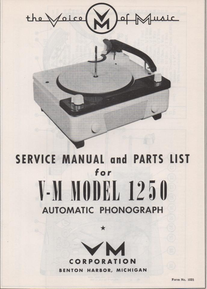 1250 Record Changer Parts Service Manual