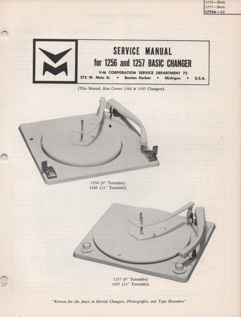 1256 1257 Record Parts Service Manual