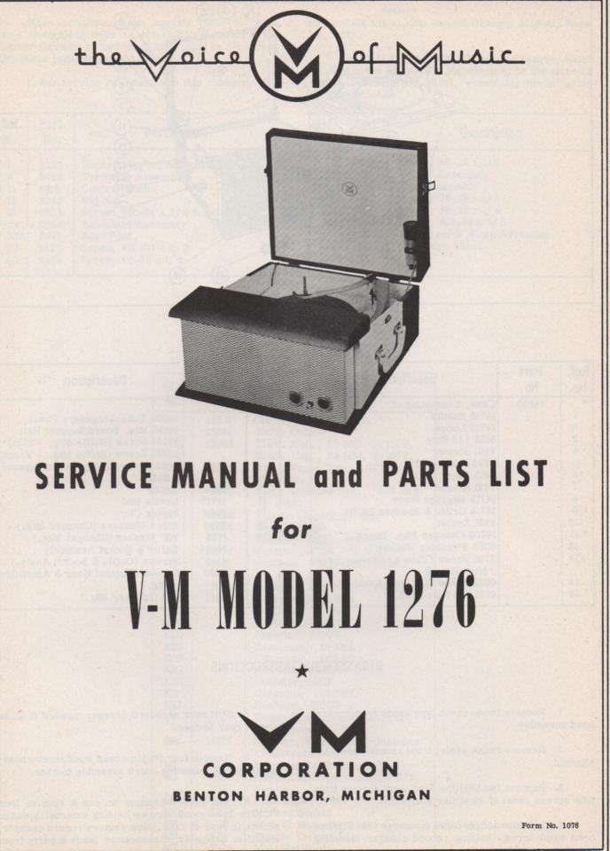1276 Record Player Service Manual