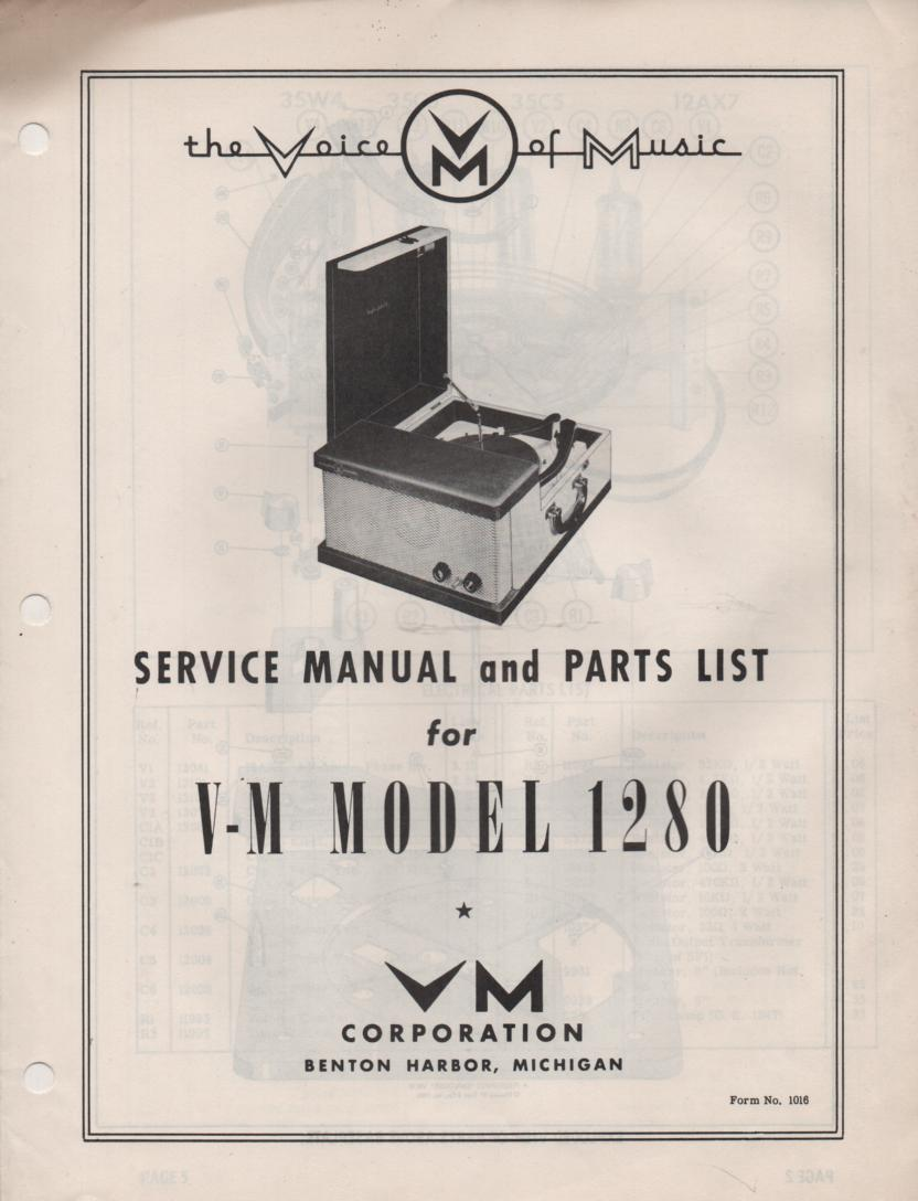 1280 Record Player Service Manual