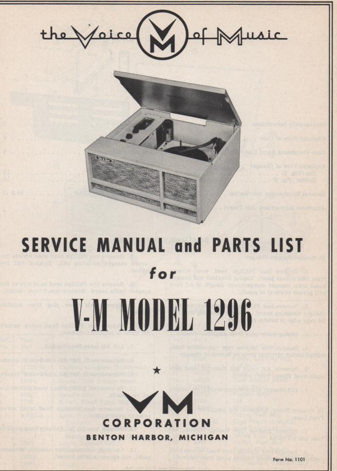 1296 Record Player Service Manual