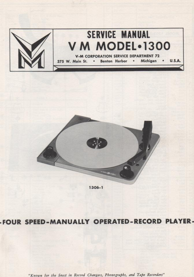 1300 1301 1303 1304 1306 1307 1309 Record changer Service Manual