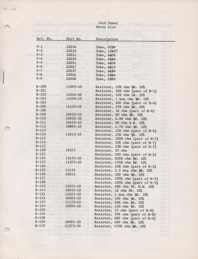 1416 Tuner Service Manual