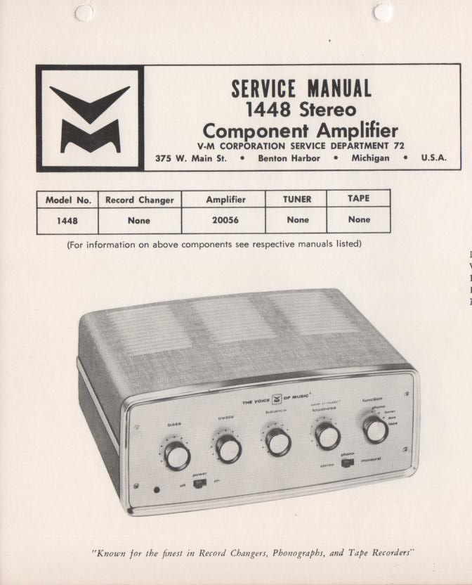 1448 Amplifier Service Manual..  Comes with 20056 manual