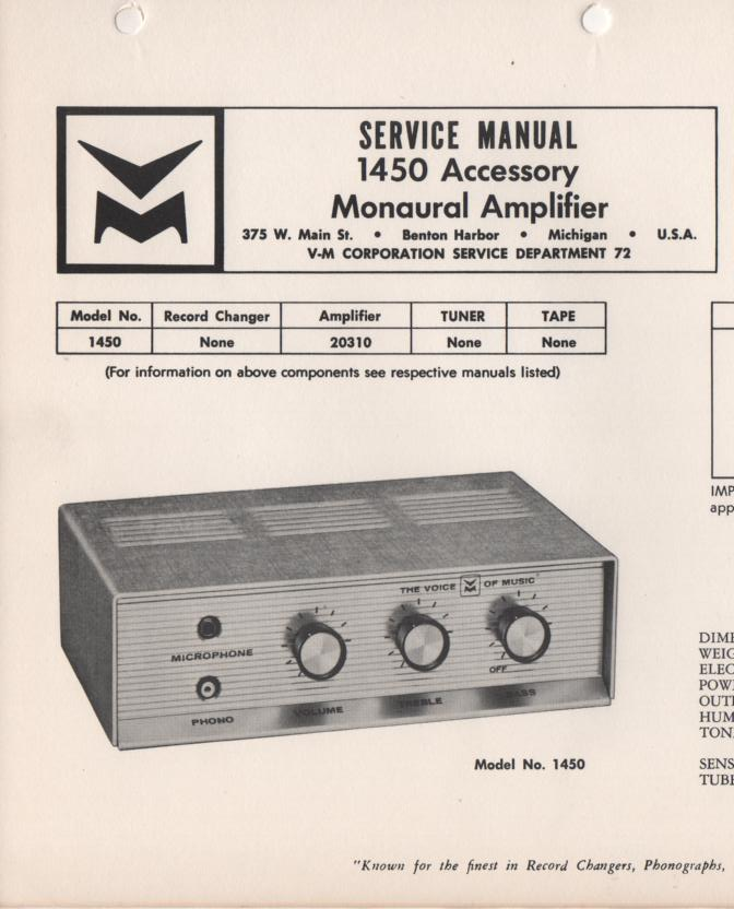 1450 Amplifier Service Manual.  Comes with 20310 manual..