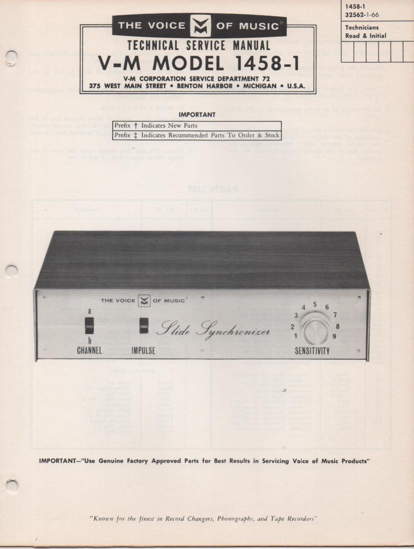 1458-1 Slide Synchronizer Service Manual