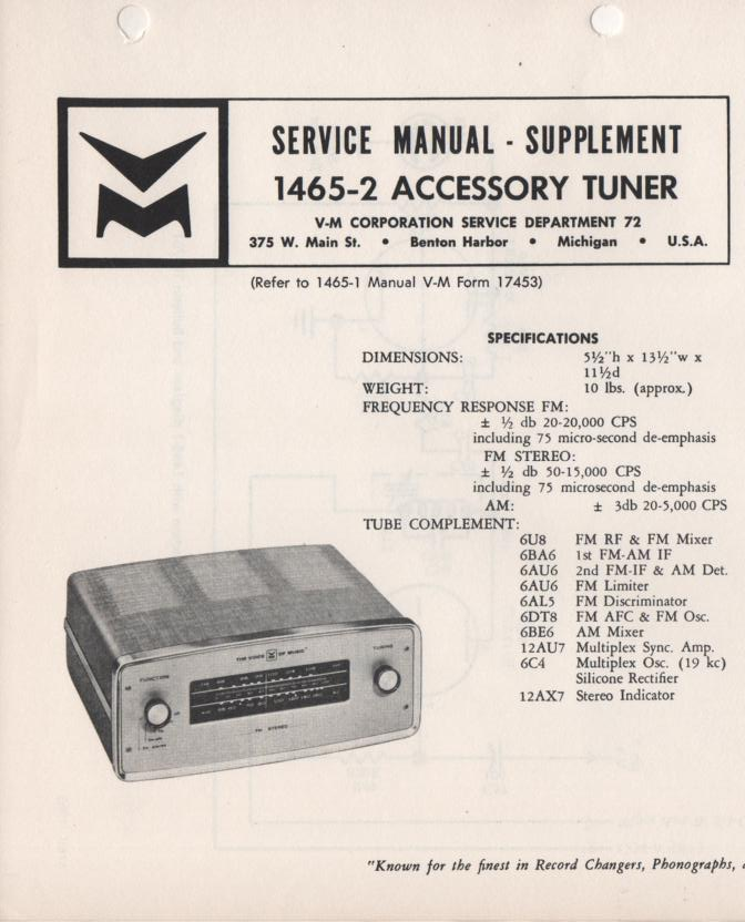 1465-2 Tuner Service Manual.  missing 2nd part of manual..