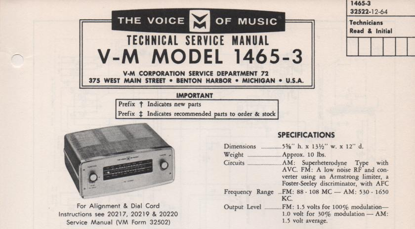1465 Tuner Service Manual