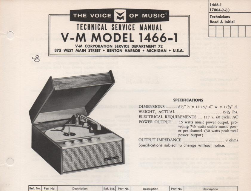 1466-1 Phonograph Service Manual.   No power supply or changer manual