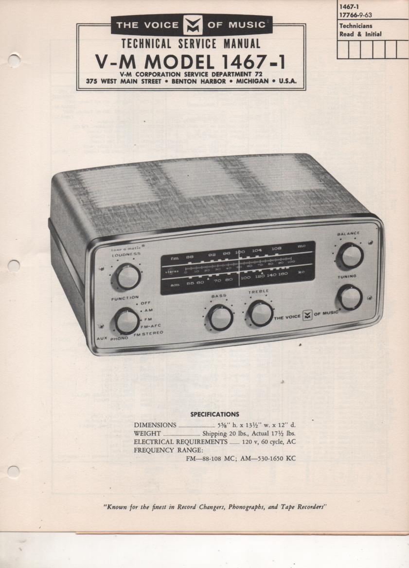 1467-1 Tuner Amplifier Service Manual