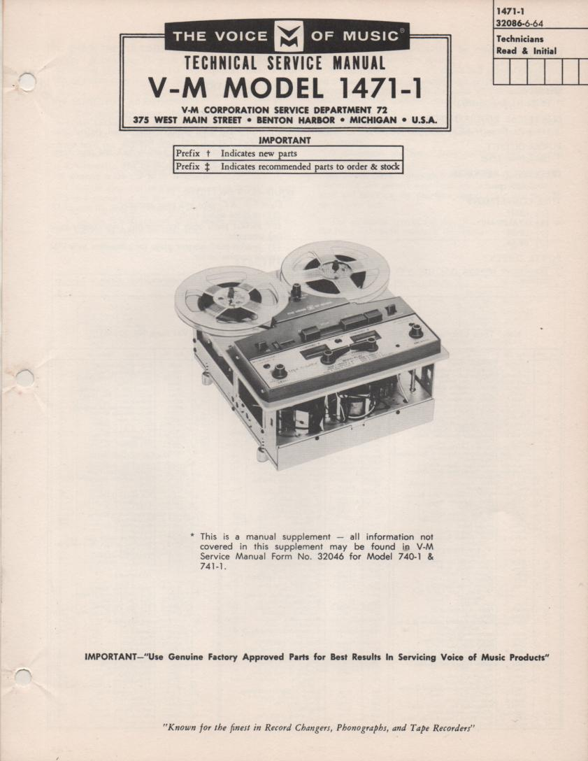 1471-1 Reel to Reel Service Manual.  also comes with 740-1 manual