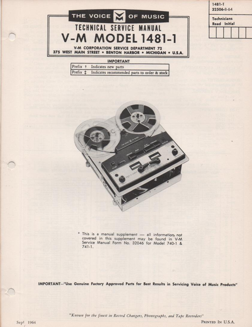 1481-1 Reel to Reel Service Manual  VOICE OF MUSIC
