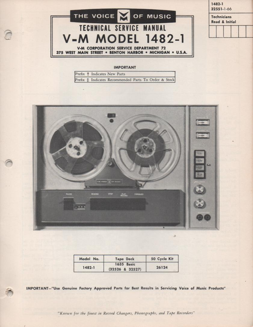 1482-1 Reel to Reel Service Manual. Comes with 1635 Basic manual