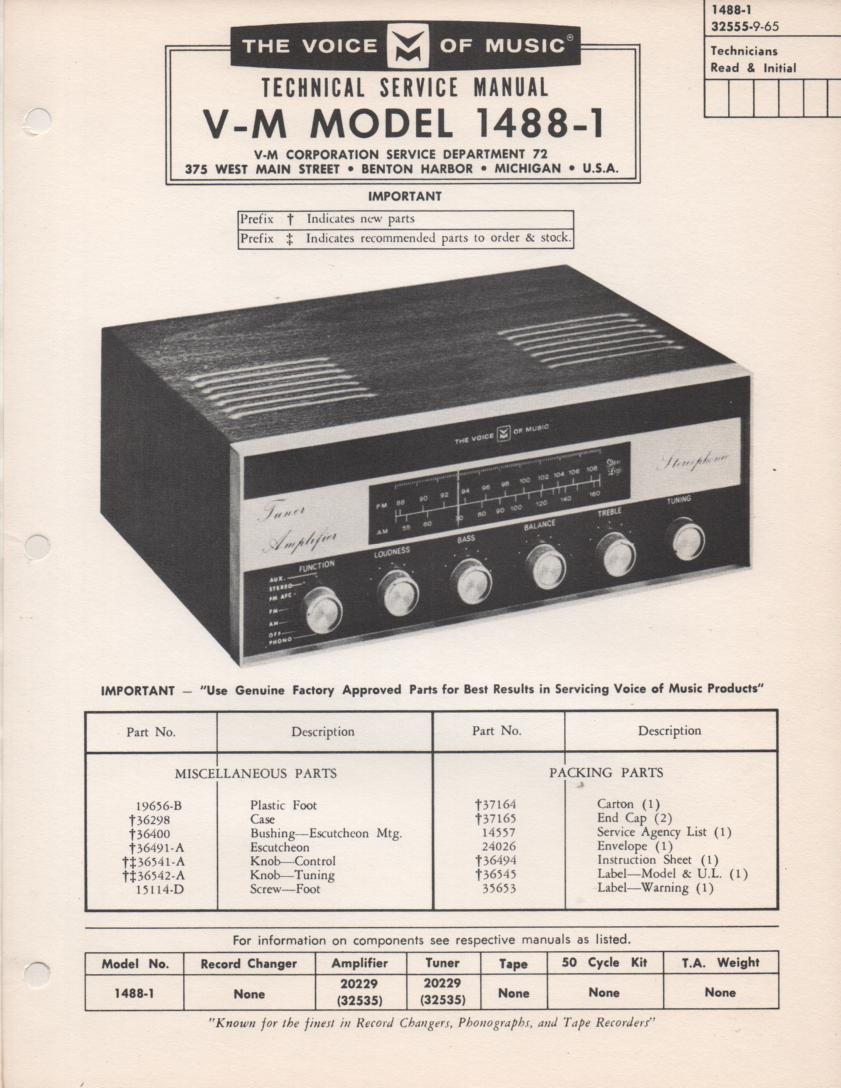 1488-1 Receiver Service Manual. Comes with 20229 Amplifier Tuner manual