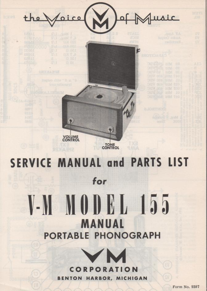155 Portable Phonograph Service Manual