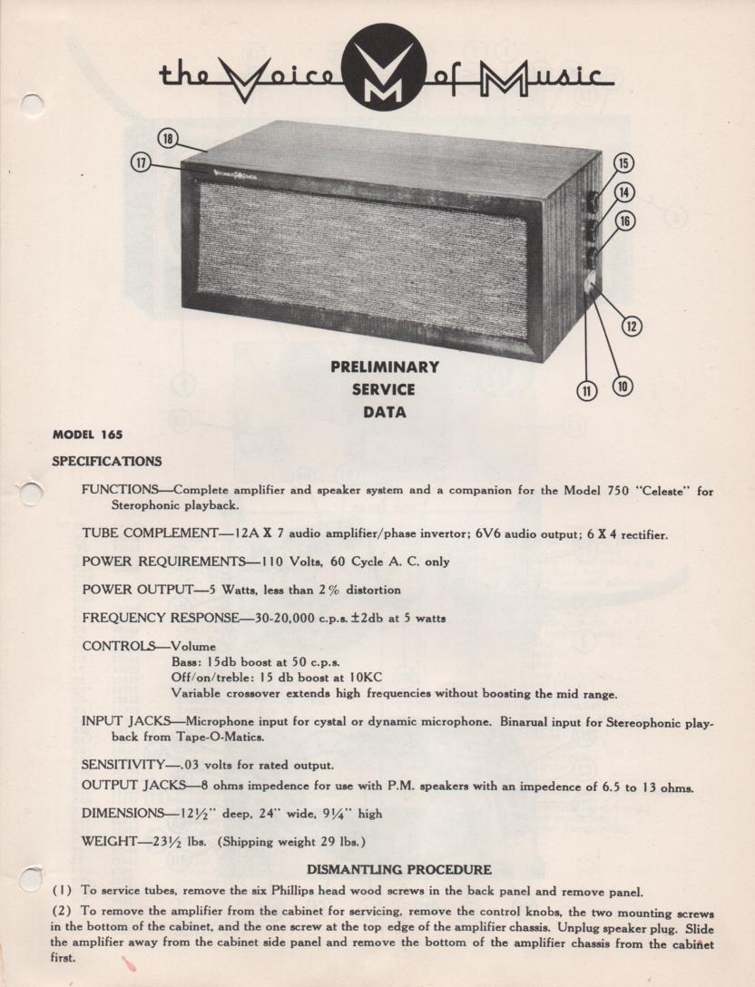 165 Speaker System Service Manual