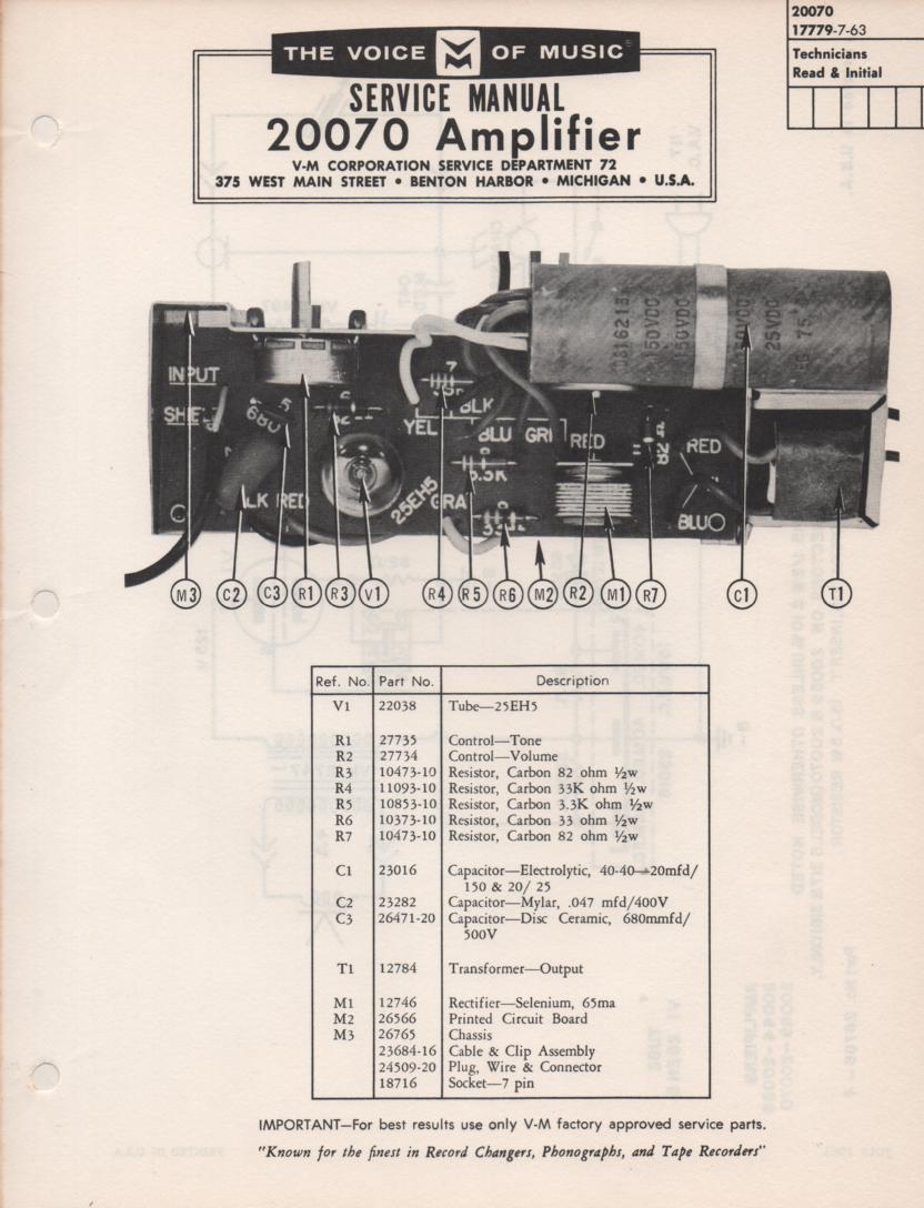20070 Amplifier Service Manual