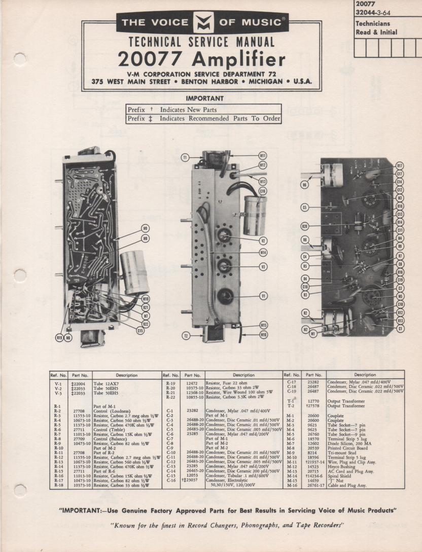 20077 Amplifier Service Manual
