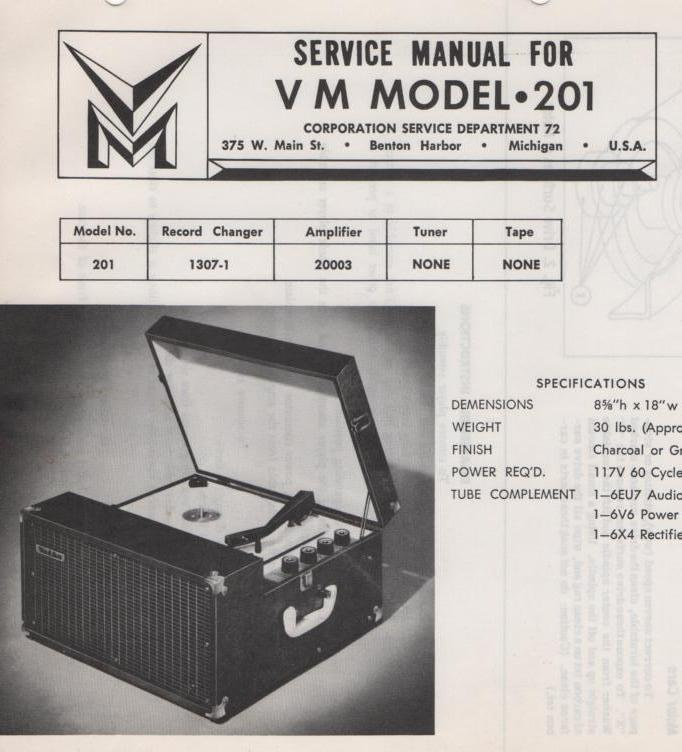 201 Portable Phonograph Service Manual.  Comes with 20031 and 1306-1 manuals