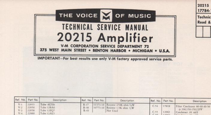 20215 Tuner Amplifier Service Manual