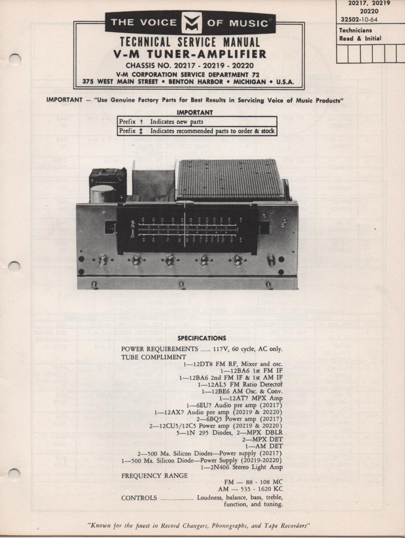 20217 Tuner Amplifier Service Manual.. 20217 20219 20220 Manual