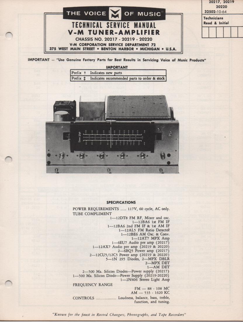 20219 Tuner Amplifier Service Manual.. 20217 20219 20220 Manual