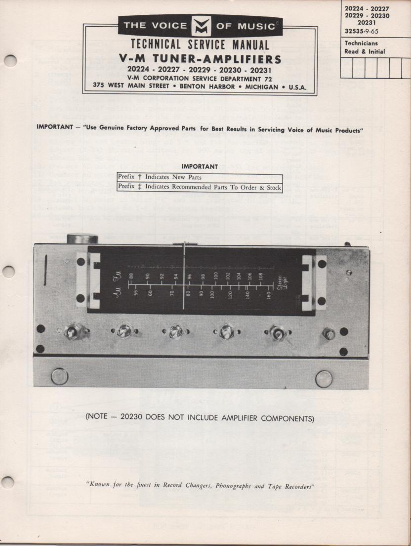 20229 Tuner Amplifier Service Manual.. 20224 20227 20229 20230 20231 Manual