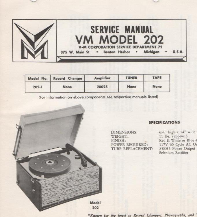 202 Phonograph Service Manual.   Comes with 20025 amplifier manual