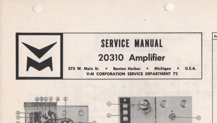 20310 Amplifier Service Manual