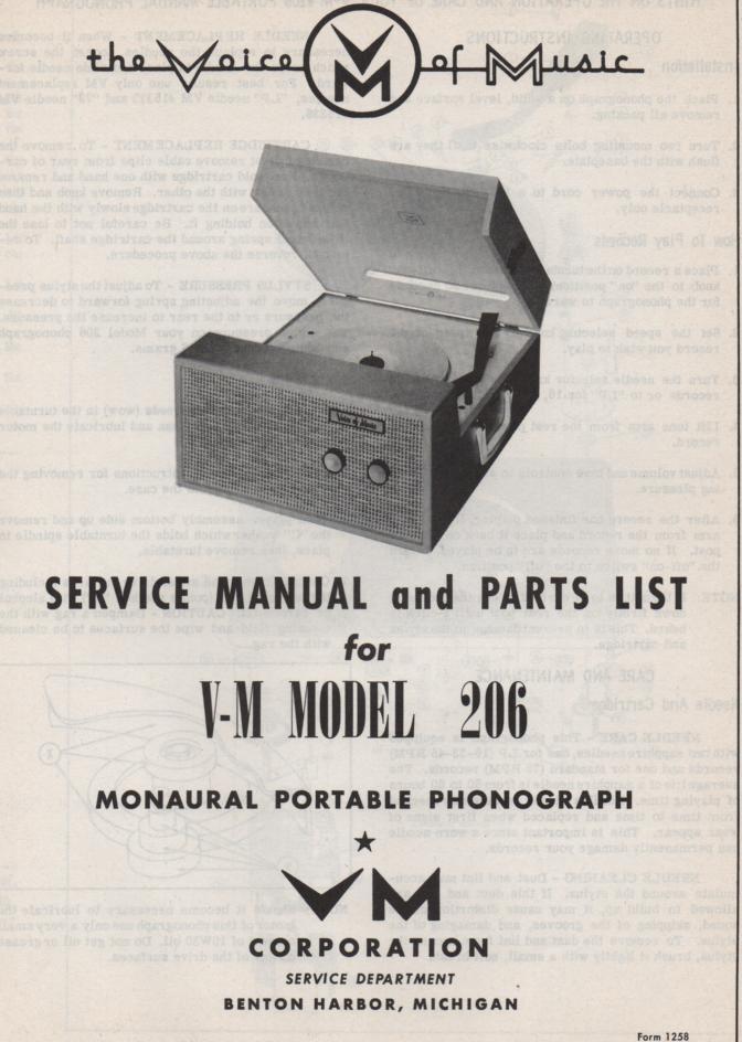 206 Portable Phonograph Service Manual