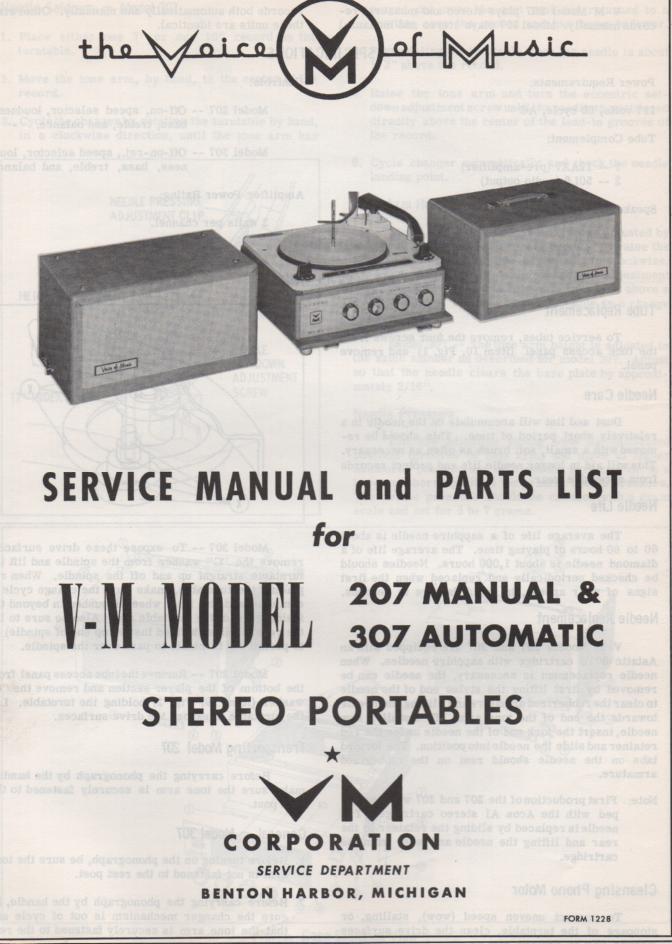207 307 Portable Phonograph Service Manual