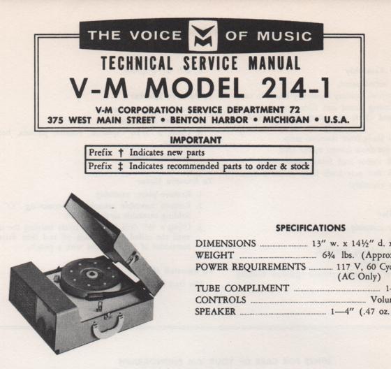 214-1 Phonograph Service Manual ans 20088 manual...