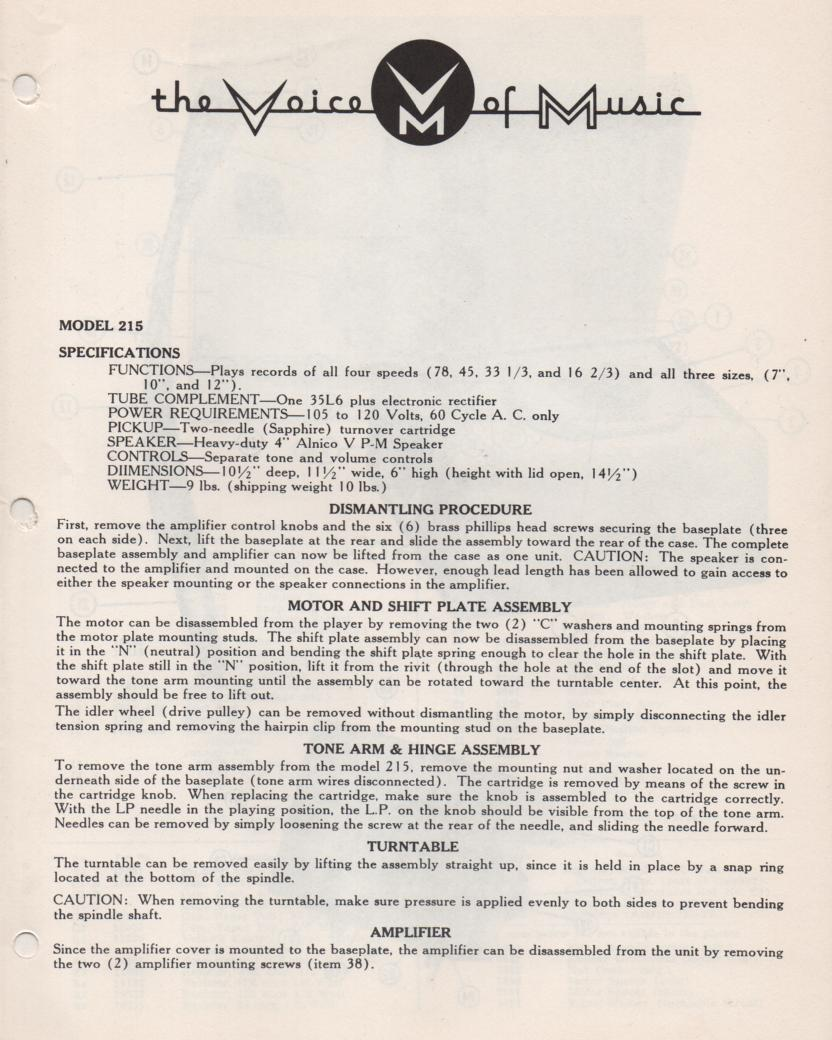 215 Portable Phonograph Service Manual