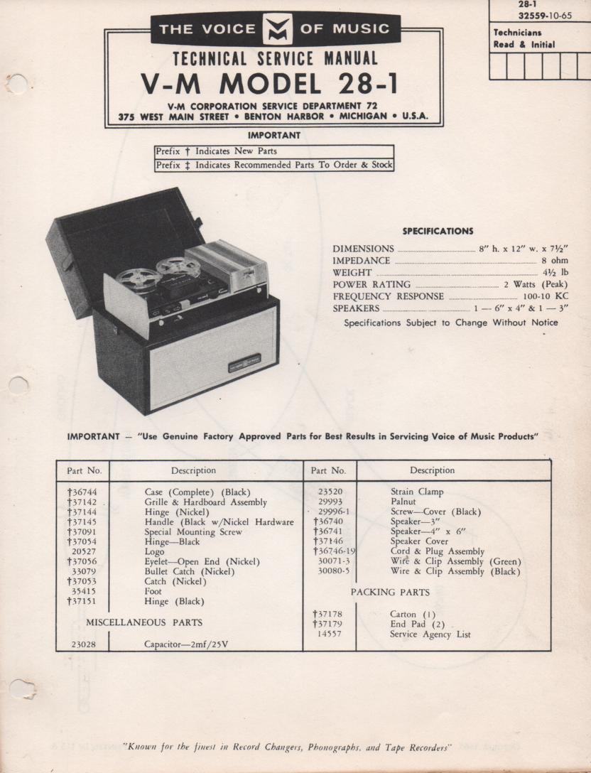 28-1 Speaker Service Manual
